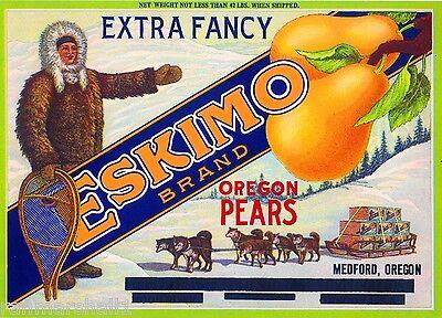 Medford Oregon Eskimo Siberian Husky Dog Dogs Pear Fruit Crate Label Art Print