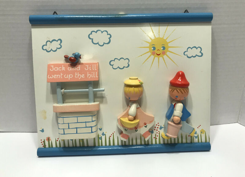 Vintage Nursery Wooden Wall Plaque Originals by IRMI  3D....Jack & Jill