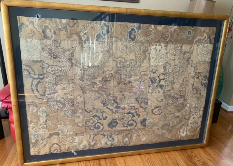 ANTIQUE 17/18th Century Japanese SILK ROBE Tapestry Traditional Dragon Clouds 6'