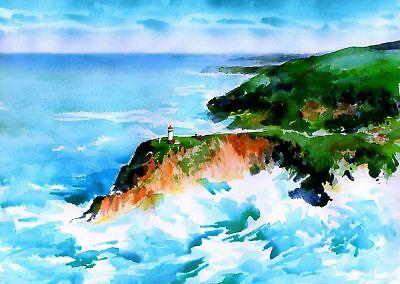 - Kilauea Point Lighthouse Aerial, Kauai, Hawaii. James Mann Watercolor Art Prints