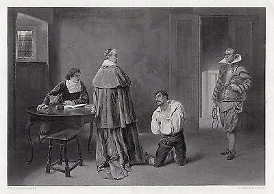 "Awesome 1800s James Dromgole LINTON Antique Engraving ""The Huguenot"" SIGNED COA"