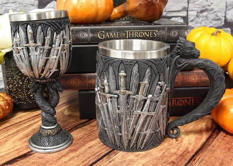 Set of 2 Medieval Iron Throne Of Valyrian Swords And Dragons Wine Goblet & Mug