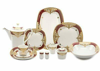 "Royalty Porcelain 49-pc ""Floral Red"" Banquet Dinnerware Set for 8, 24K Gold"