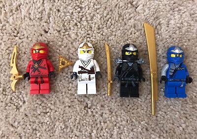 Lego Ninjago ZANE KAI JAY COLE Lot 4 Figures With Golden Weapons GUC Genuine