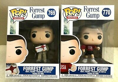 Funko Pop! Movies Forrest Gump With Chocolates & Ping Pong Outfit Set Of 2 NEW