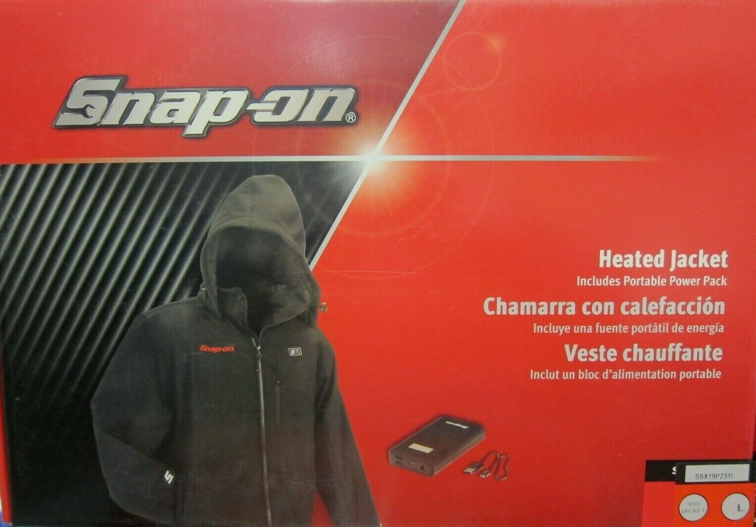 NEW- SNAP ON HEATED JACKET / COAT MENS LARGE W/ PORTABLE POW