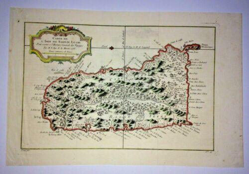 SAINT LUCIA ISLAND 1758 NICOLAS BELLIN NICE ANTIQUE MAP IN COLORS 18TH CENTURY