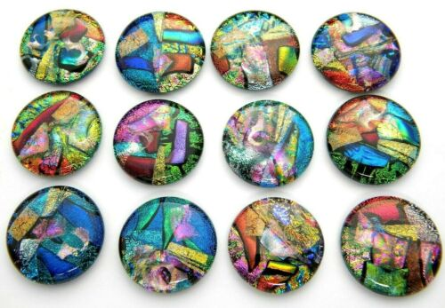 ASSORTED 12 pcs CIRCLE DICHROIC FUSED GLASS pendant (BH4) CABS MOSAIC TILE KNOBS