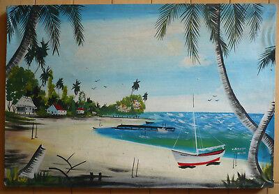 MYSTERY HAITI HAITIAN ?? SCHOOL MODERN FOLK ART OIL PAINTING COAST COASTAL BOATS