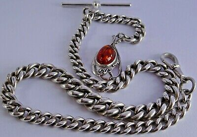 Fabulous antique solid silver pocket watch albert chain & fob set with amber