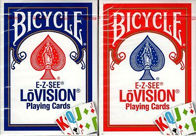 E-Z See Lo Vision Red & Blue 2 Deck Set Bicycle Playing Card