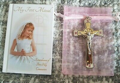 First Holy Communion Gift Set For girl pink crystal swarovski crusafix missal](Gifts For First Communion Girl)