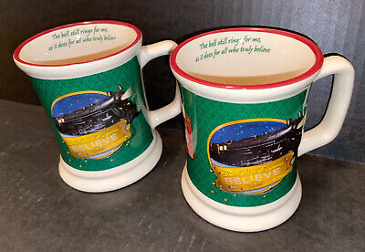 Set Of Vintage The Polar Express Christmas Large Coffee cup mugs 3D Train