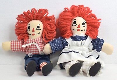 Vintage Pair Collectors Set Raggedy Ann & Andy Stuffed Dolls 10""
