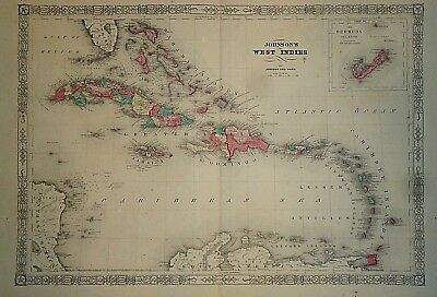 Vintage 1865 WEST INDIES - CARRIBEAN MAP Old Antique Original Atlas Map 41418