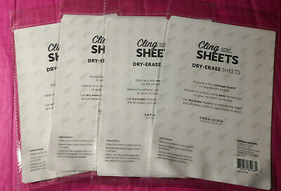 4 Static Cling Sheets White Dry Erase Mini Message Board Self Adhesive 5x8