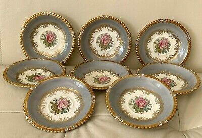 Aynsley 7913 Gray Rim Gold Trim & Pink Rose 8 Saucers by G. Bentley Gold Trim Rim