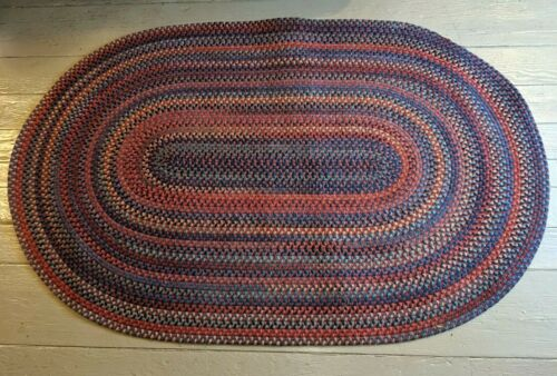 Gorgeous Vtg Folk Art Country Farmhouse Oval Wool Braided Rug 5