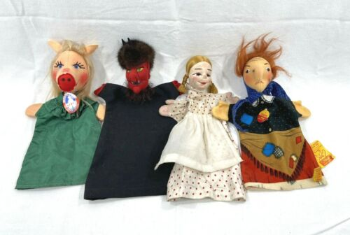 "LOT of 4 Vintage Hand Puppets Miss Pig Devil Young Maiden Witch 12-14"" Tall"