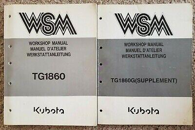 Kubota Workshop Manual - Tg1860 With Tg1860g Supplement - Garden Tractor B