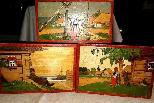 Lot of 3 Vintage Russian/USSR Wood Folk Art Boxes