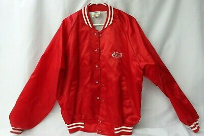 Vintage Coca Cola Mens XL Employee Uniform Bomber 80s Red Jacket TF