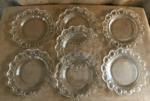 "Vintage cutout circle glass 8"" plates set 7 lot dinnerware open lace edge"
