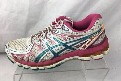 Asics Womens Gel Kayano 20 Running Shoes Size 8.5 White Blue Pink Athletic T3N7N