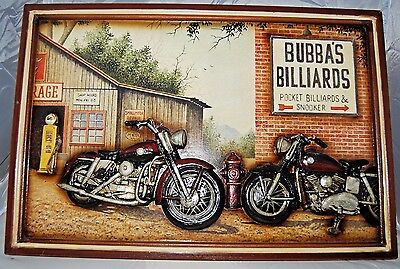 Bubba's Billiards Motorcycle Pub Gameroom Sign Art Polyresin/MDF, 3D Art
