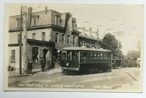 1922 PA RPPC Postcard 1st Car to Enter Bustleton Philadelphia Trolley streetcar