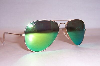 32fb2f4ead NEW RAY BAN AVIATOR Sunglasses 3025 112 19 GOLD GREEN MIRROR 55MM AUTHENTIC