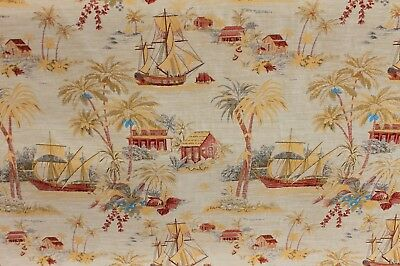 3 YDS STUNNING IMPORTED ORIENTAL RED GOLD TOILE FINE JACQUARD UPHOLSTERY FABRIC