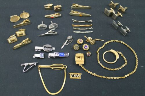 Vintage Lot Mens Cuff Links Tie Clasps Fobs Pins
