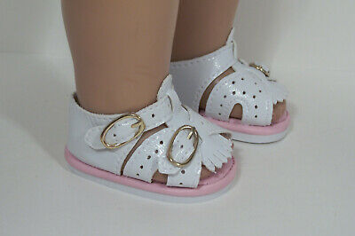 Pink Doll Shoes - 2-Tone PINK WHITE Sandals Doll Shoes For 18