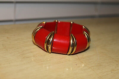 Vintage Red & Gold Bakelite Stretch Bracelet NICE