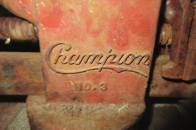 "RARE Vintage Champion No. 3 Machinist Anvil Bench Vise 4"" Jaws"