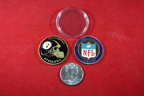 NFL Football Team Coin: Pittsburgh STEELERS w/ Hard Case Poker Card Protector