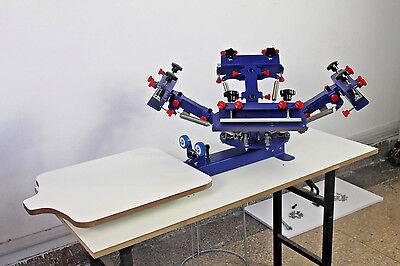 4 Color 1 Station Silk Screen Printing Press Printer Micro-regisit DIY Equipment