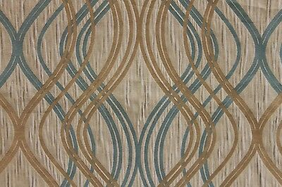 3 YD LOVELY KASLEN COMO ISIS TAUPE BLUE JACQUARD UPHOLSTERY DRAPERY FABRIC
