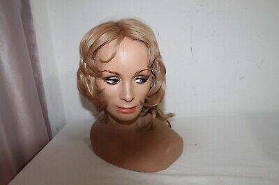 Hand Painted Head Mannequin With Blonde Wig For Store Display
