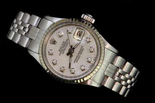 Rolex - Rolex Ladies Datejust Date Oyster Steel Diamond Dial 14K White Gold Bezel Luxury