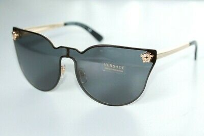 Versace Womens Sunglasses VE2120 1002/87 Gold Frame W/ Black Lens Medusa (Versace Sunglasses Logo)