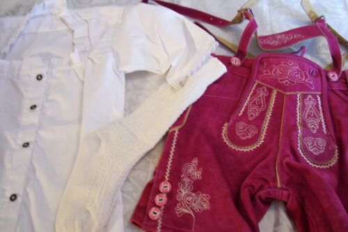 US sz 12 Set.Germany,Girls,Trachten,Lederhosen w.Suspenders.Oktoberfest.D.Pink