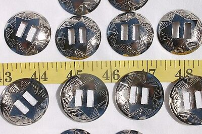 Slotted Western Star Silver Conchos 1 1/4 inch/12pcs