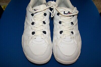 MENS SZ 11W LA GEAR CRUNCH WHITE LEATHER LOW TOP SNEAKERS XLT CONDITION CLEAN