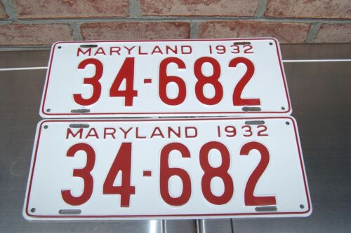 1932 Maryland License Plates Matched Pair Professionally Restored Show Quality