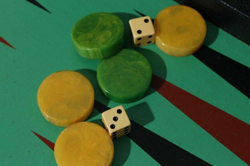 Yellow Green Swirl Bakelite Backgammon Set Leather Brief Case Game