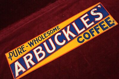 ** VINTAGE ANTIQUE ARBUCKLES' COFFEE SIGN EMBOSSED TIN TACKER ADVERTISING **