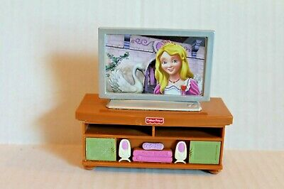 Fisher-Price Loving Family Dollhouse Television on Brown TV Stand 2009