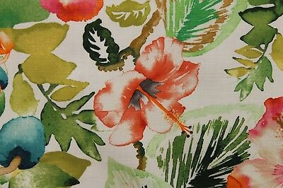 3.75 YDS LOVELY HAMILTON YUCATAN MELON TROPICAL FLORAL UPHOLSTERY DRAPERY FABRIC